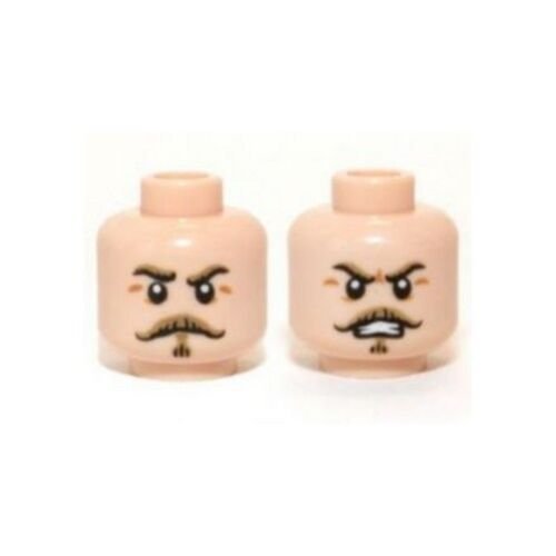 Head w// Tan Moustache and Eyebrows Stern // Angry Pattern LEGO Minifig