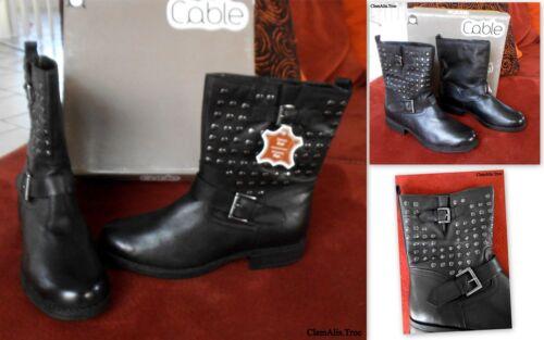 41 Bottines P En grand 90€ Voir Valeur Boots Style cable 40 Cuir Motard 79 pq44g