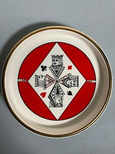 CERAMIC-POKER-PLAYING-CARDS-SNACK-SERVING-DISH-appetizer-novelty-TDC-World-Wide