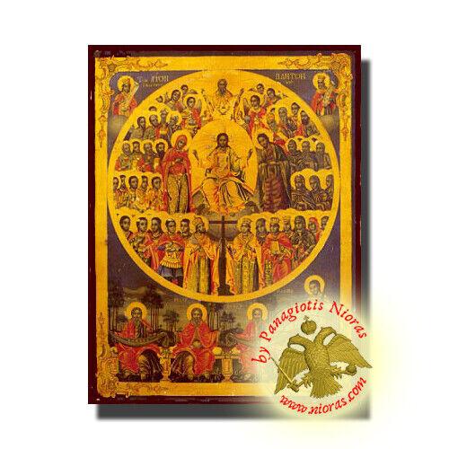 Orthodox Icon All Saints Agioi Pantes Orthodoxe Ikone Allerheiligen Mounted