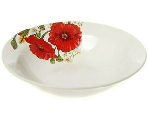 17-fl-oz-Porcelain-Bowl-with-Poppies-Flowers-Decal-Soup-Plate-Floral-Pattern