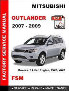 mitsubishi outlander 2007 2008 2009 factory service repair workshop rh ebay com mitsubishi outlander 2008 manual download mitsubishi outlander 2008 owners manual