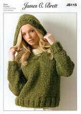8fb0630920da5 item 5 Ladies Hooded Sweater JB115 Knitting Pattern James C Brett Rustic  Mega Chunky -Ladies Hooded Sweater JB115 Knitting Pattern James C Brett  Rustic Mega ...
