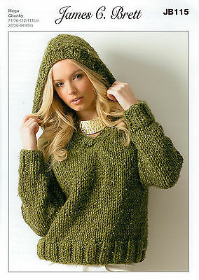 Ladies Hooded Sweater JB115 Knitting Pattern James C Brett Rustic Mega Chunky