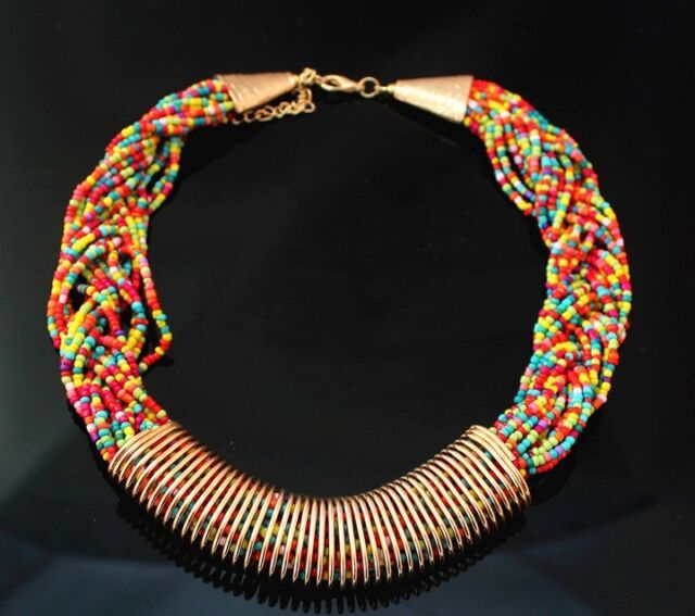 Lady Jewelry Charm Colours Chain Resin Beads Braid Loop Bib Pendant Necklace