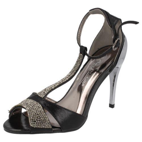 Anne Michelle Court Ladies Black Diamante detail Court Michelle Sandal F10279 to 8 (R3A) d49088