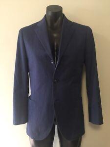 Herringbone-Sydney-3-Button-Casual-Sports-Jacket-5-Pocket-Navy-Blue-Sz-38-Cotton