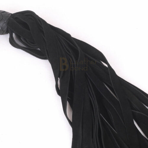 Real Genuine Cow Hide Suede Leather Flogger 25 Falls Black Heavy Duty Whip