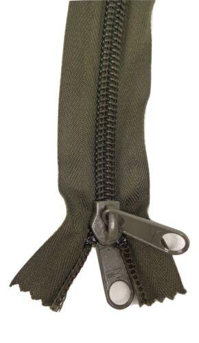 140cm Ejército Militar Verde Oliva 2-Way Extra Larga Nylon cierre final zip con cremallera J4