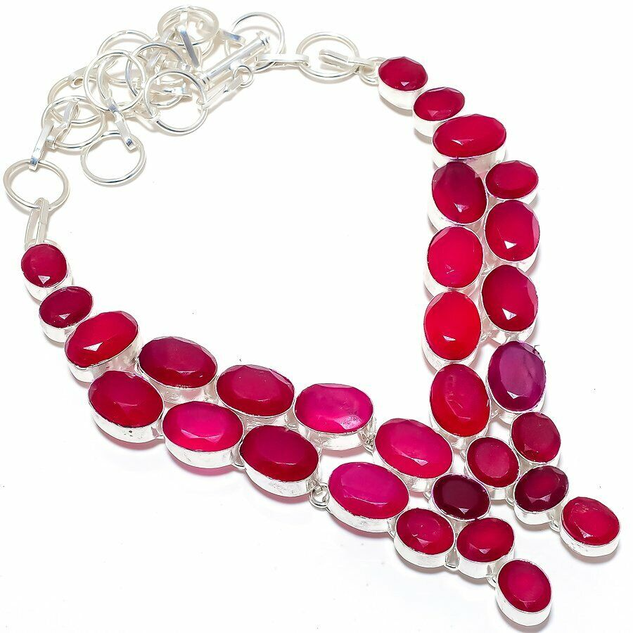 Faceted Ruby Gemstone Handmade Silver Jewelry Necklace 18