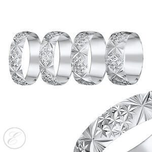Details About 18ct White Gold Ring D Shaped Diamond Cut Wedding Band 4mm 5mm 6mm 7mm