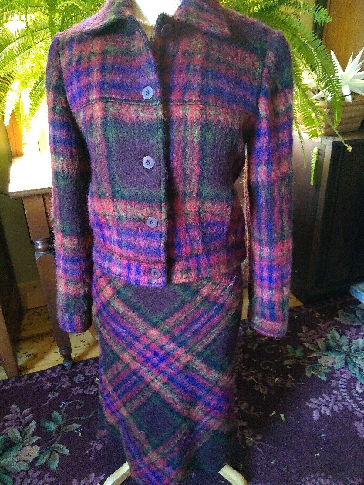 Tara Jarmon Plaid Mohair Blend Skirt Suit Sz 40   42