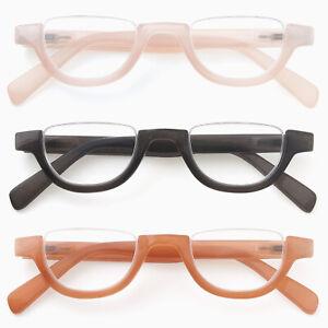 GAWK-Retro-HALF-MOON-Semi-Rimless-READING-GLASSES-amp-Pouch-1-0-1-5-2-00-2-50-3-0