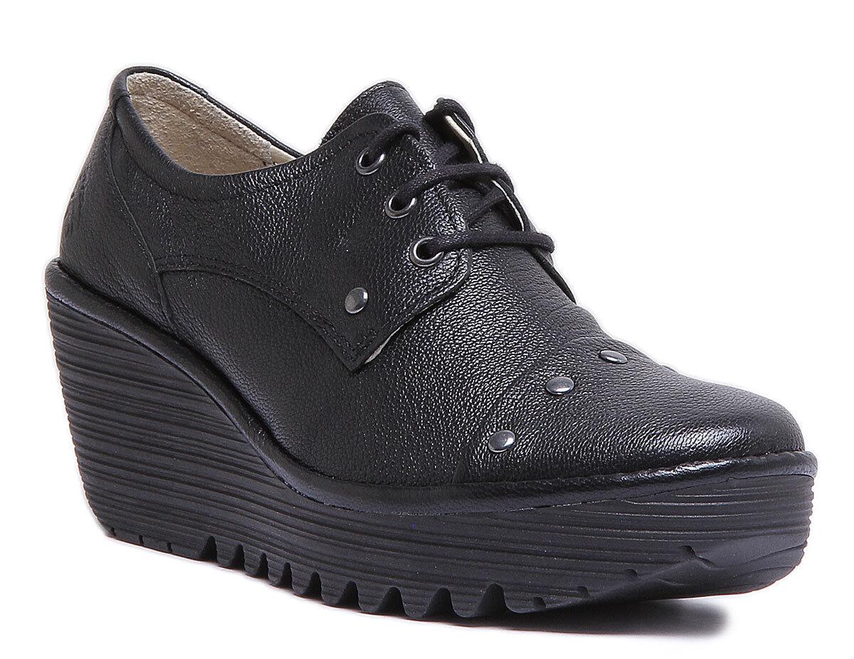Fly London Yoti904 Womens Leather Black Matt Wedge shoes UK Size 3 - 8