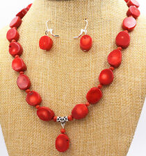 """Fashion Natural  Oval  red CORAL Necklace earring Gemstone Beads 18 """"Women Gift"""