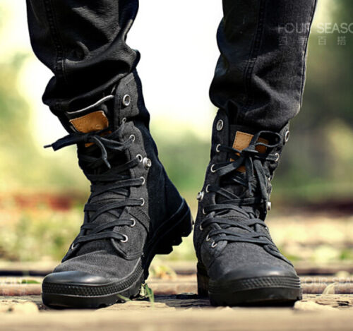 Men/'s Military baskets High Top Combat Sports Lacets Knight Riding Boots