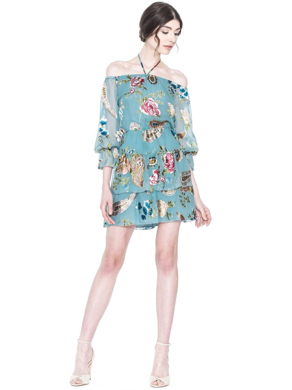 NWD Alice + Olivia Waylon Dress in Aqua Multi - Größe 6