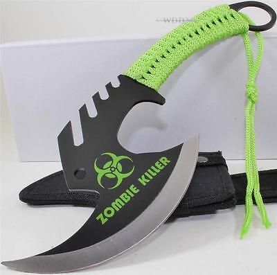 Zombie Killer Skull Splitter Throwing Axe Combat Fighter Survival Knife + Sheath