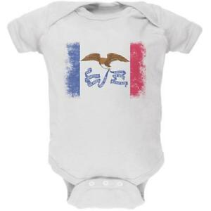 Born and Raised Iowa State Flag Soft Baby One Piece
