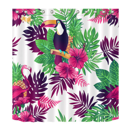 "72/"" Tropical Toucan Flamingo Exotic Flowers Leaves Shower Curtain Set Waterproof"