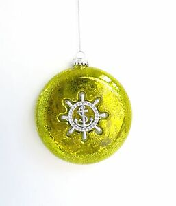 NEW-Green-Glass-Silver-Anchor-Lighthouse-Nautical-Round-Christmas-Tree-Ornament