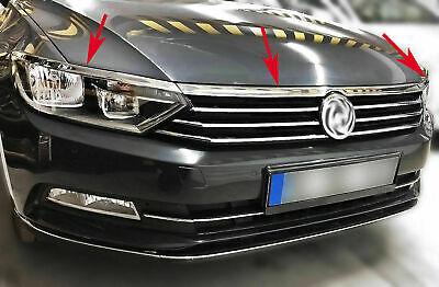 FIT FOR VW Passat B8 Head Light Upper Trim 3 Pcs S.Steel 2015/>