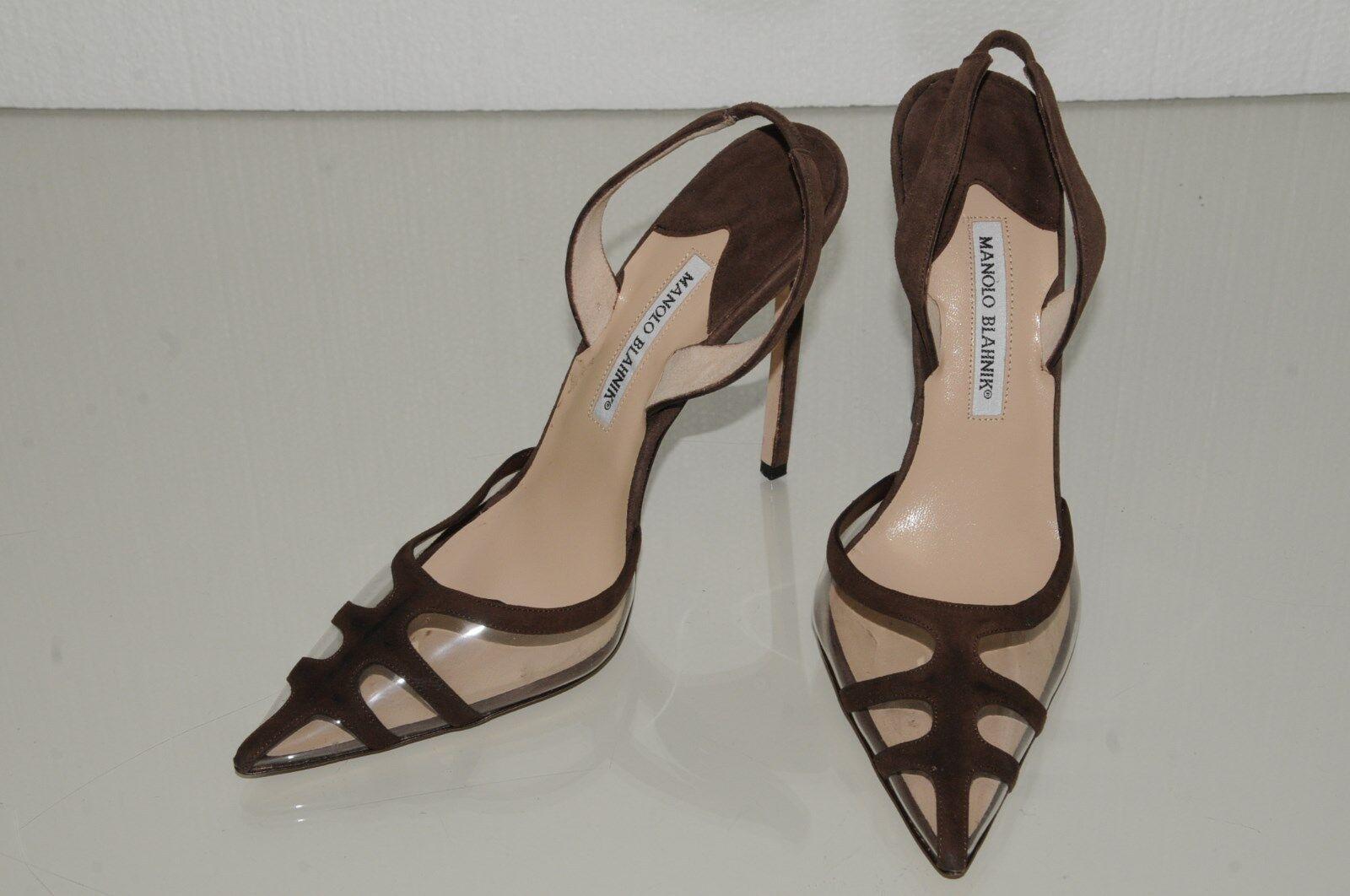 Neuf Femmeolo Blahnik Carolyne Marron Daim Marron Carolyne PVC Bb 130 Talon Licou Chaussures 40.5 82fba0