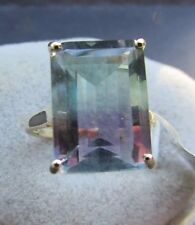 12.48 cts Bi-Color Fluorite Solitaire Size 7 Ring 10k Yellow Gold