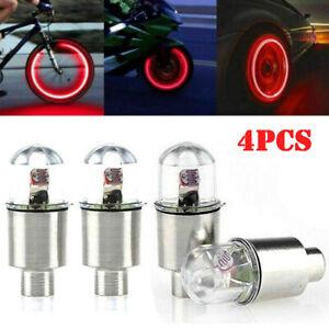 4x Red LED Wheel Tyre Tire Air Valve Stem Cap Lights Lamp Accessory For Car Bike