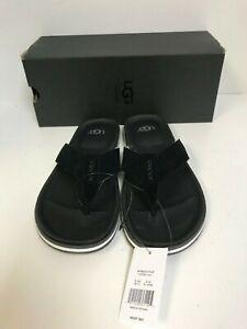 1abaad06295 Ugg Men's Beach Flip Flop Black Suede Sandals - New | eBay