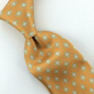 Kiton-Tie-Italy-Square-Floral-Motif-7-Sevenfold-Yellow-Luxe-Necktie-Silk-Ties-L4