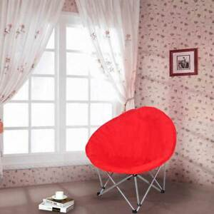 Folding-Paded-Moon-Chair-Lounge-Round-Furniture-Comfort-Bedroom-Garden-Red