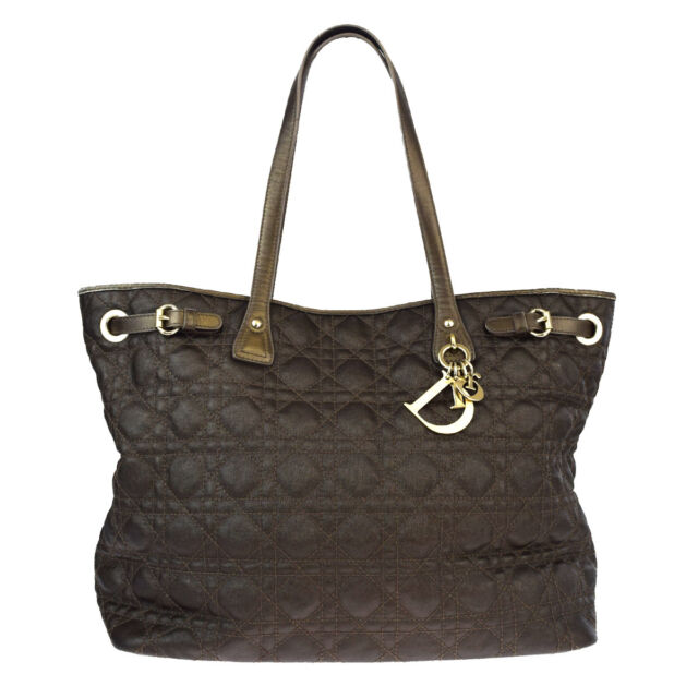 Auth Christian Dior Cannage Lady Shoulder Tote Bag Canvas Leather Khaki 65P530
