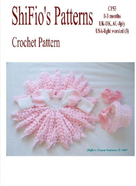 Crochet Pattern For Baby Girl Dress Hat Shoes 53 Not Clothes Ebay