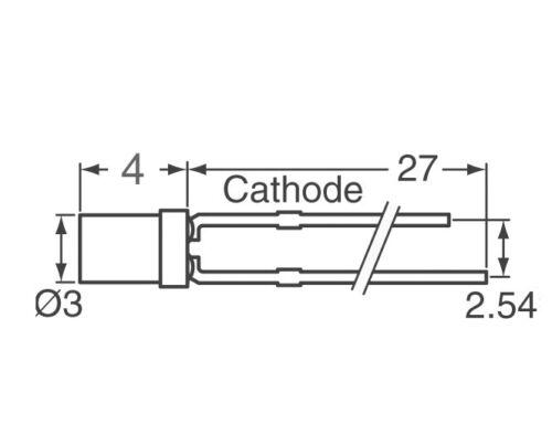 visage plat jaune clair cylindrique cylindre DEL yellow S367-50 pièces DEL 3 mm