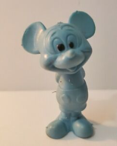 """Vintage Walt Disney 2.75"""" Tall Blue Mickey Mouse Rubber Figurine Toy Nice!"""
