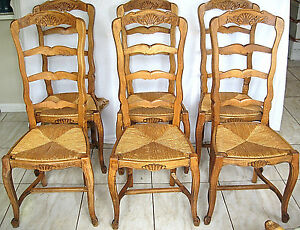 Cool Details About Antique Dining Chairs 6 French Ladder Back Shell Carved Rush Seats Cabriole Legs Gamerscity Chair Design For Home Gamerscityorg