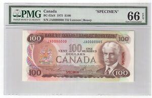 Canada-BC-52aS-Specimen-100-Banknote-1975-PMG-GEM-UNC-66-EPQ