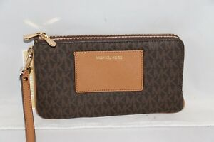 a58f747dfb68 Michael Kors Signature Large Double Zip Wristlet with Pocket - Brown ...