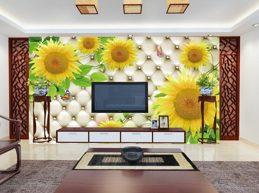 3D Mega Sunflowers And Pattern434 Wall Paper Wall Print Decal Wall AJ Wall Paper