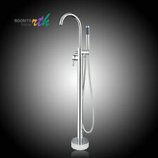 US Free Standing Floor Mounted Bathroom Tub Faucet Mixer Tap Hand Shower Sprayer