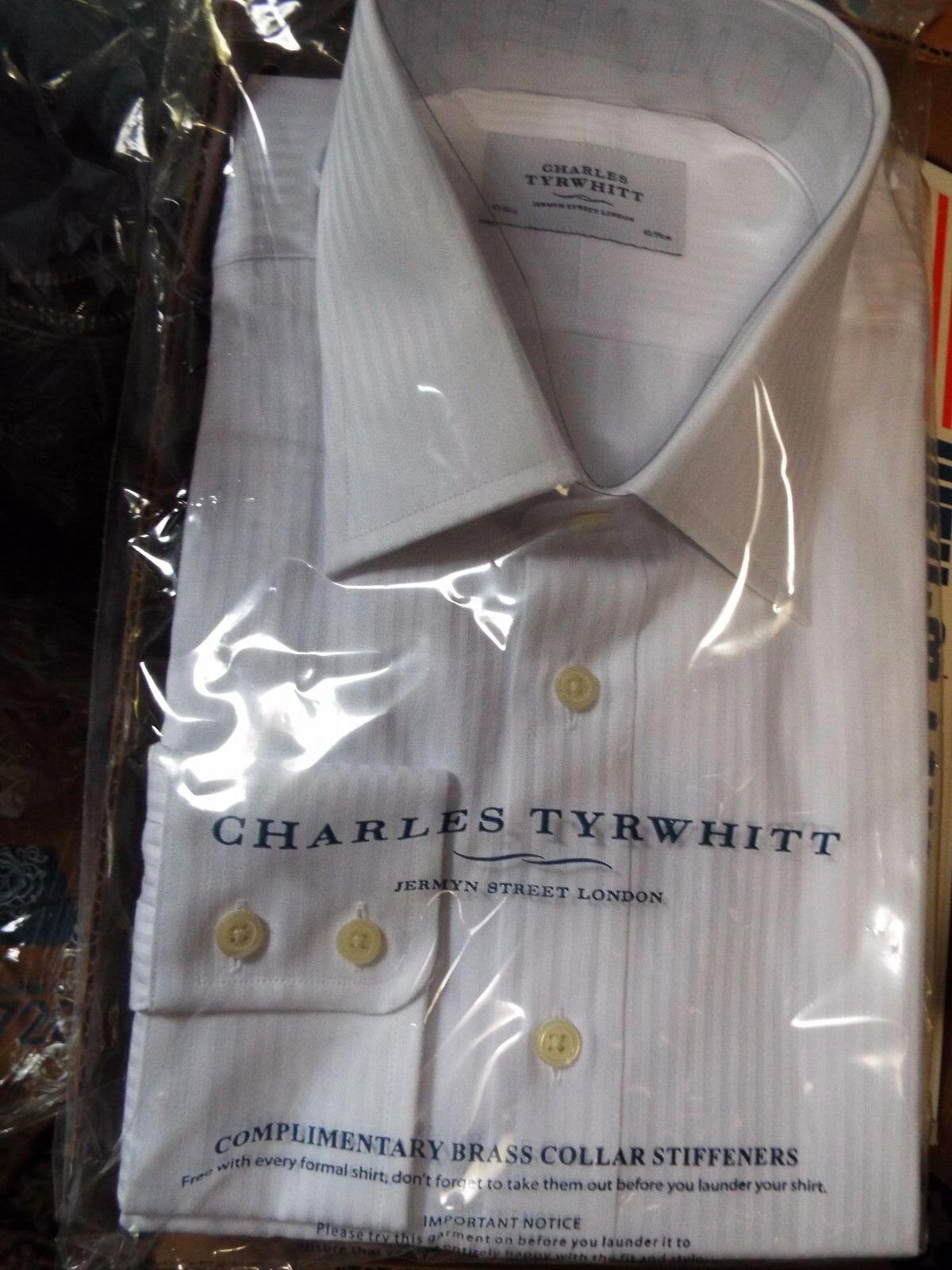 NWTCHARLES TYRWHITT Weiß on Weiß Satin Stripe 17-36 Classic Fit, Button Cuff