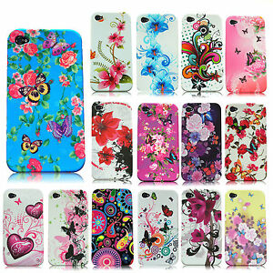 For-APPLE-iPHONE-BUTTERFLY-FLOWER-FLORAL-SILICON-RUBBER-GEL-SKIN-CASE-COVER