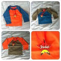 Baby Boys Stardust Kids Blue Orange Long Sleeve Baseball Style T Shirt Top Tee