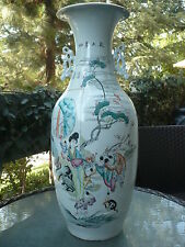 """BEAUTIFUL ANTIQUE 19c CHINESE HAND PAINTED VASE 23.40""""H"""