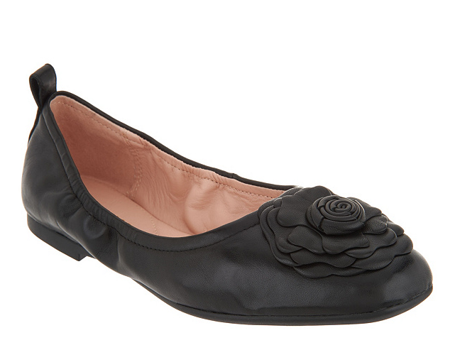 Taryn pink Ballet Flats w  pink Detail Black pinklyn Womens shoes 5 New