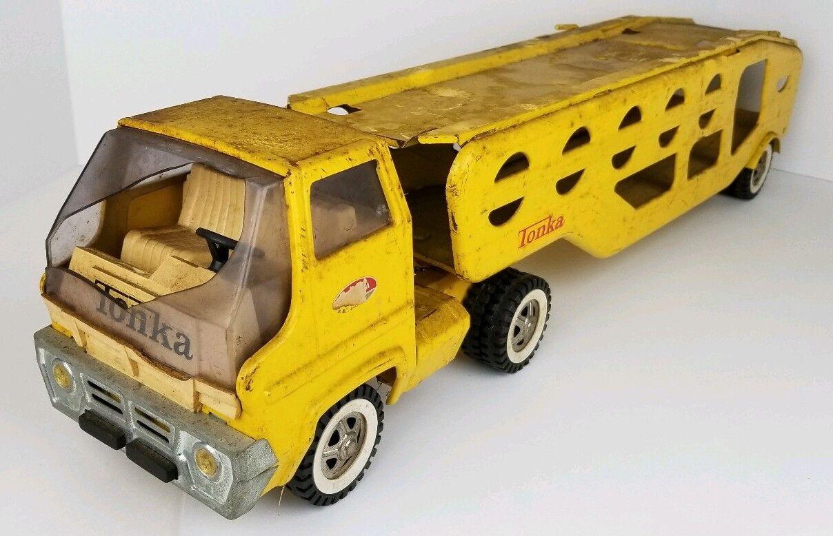 gran selección y entrega rápida De Colección Tonka Amarillo Acero Prensado Prensado Prensado Coche hauler portador Junk Yard destrozada Parabrisas  ganancia cero