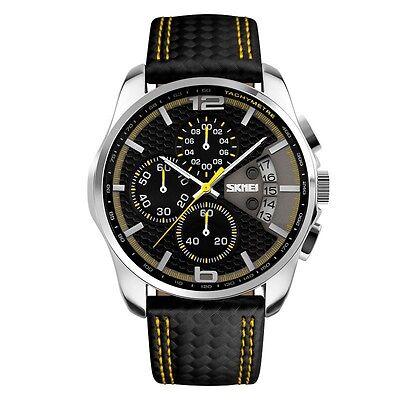 Mens Fashion Leather Sport Date Chronograph Analog Quartz Wrist Watch Waterproof