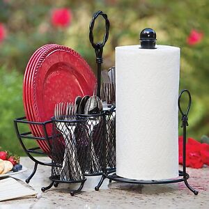 Image is loading Wrought-Iron-3pc-Picnic-Buffet-Serving-Caddy-Set- & Wrought Iron 3pc Picnic Buffet Serving Caddy Set Towel Holder Plates ...