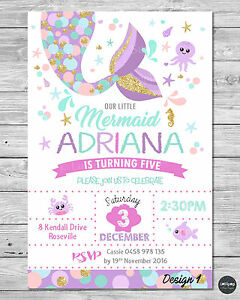 Image Is Loading DIGITAL FILE LITTLE MERMAID INVITATION 1ST FIRST BIRTHDAY